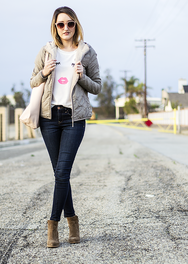 Lashes and Lips Tee Shirt with The Limited Skinny Jeans, Uniqlo Jacket, and Booties