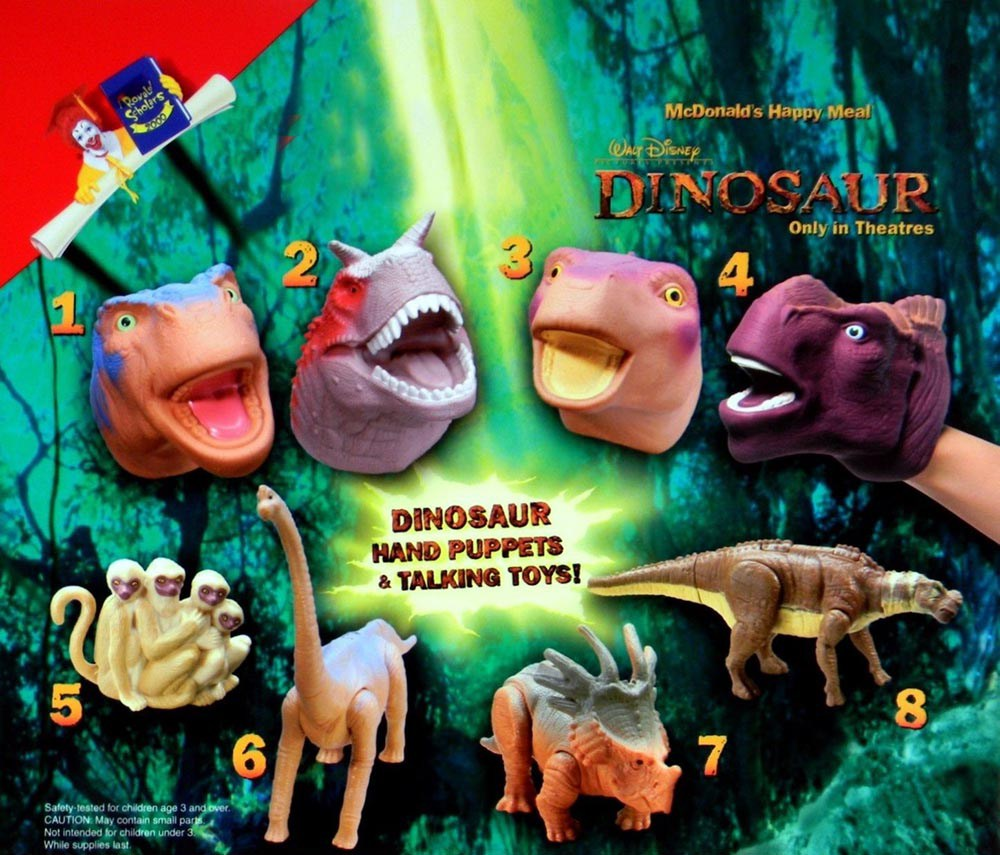 Mcdonald S 2000 Disney Dinosaur Movie Uk Set Prehistoria, hace 65 millones de años, al final del periodo cretáceo. 2000 disney dinosaur movie uk set