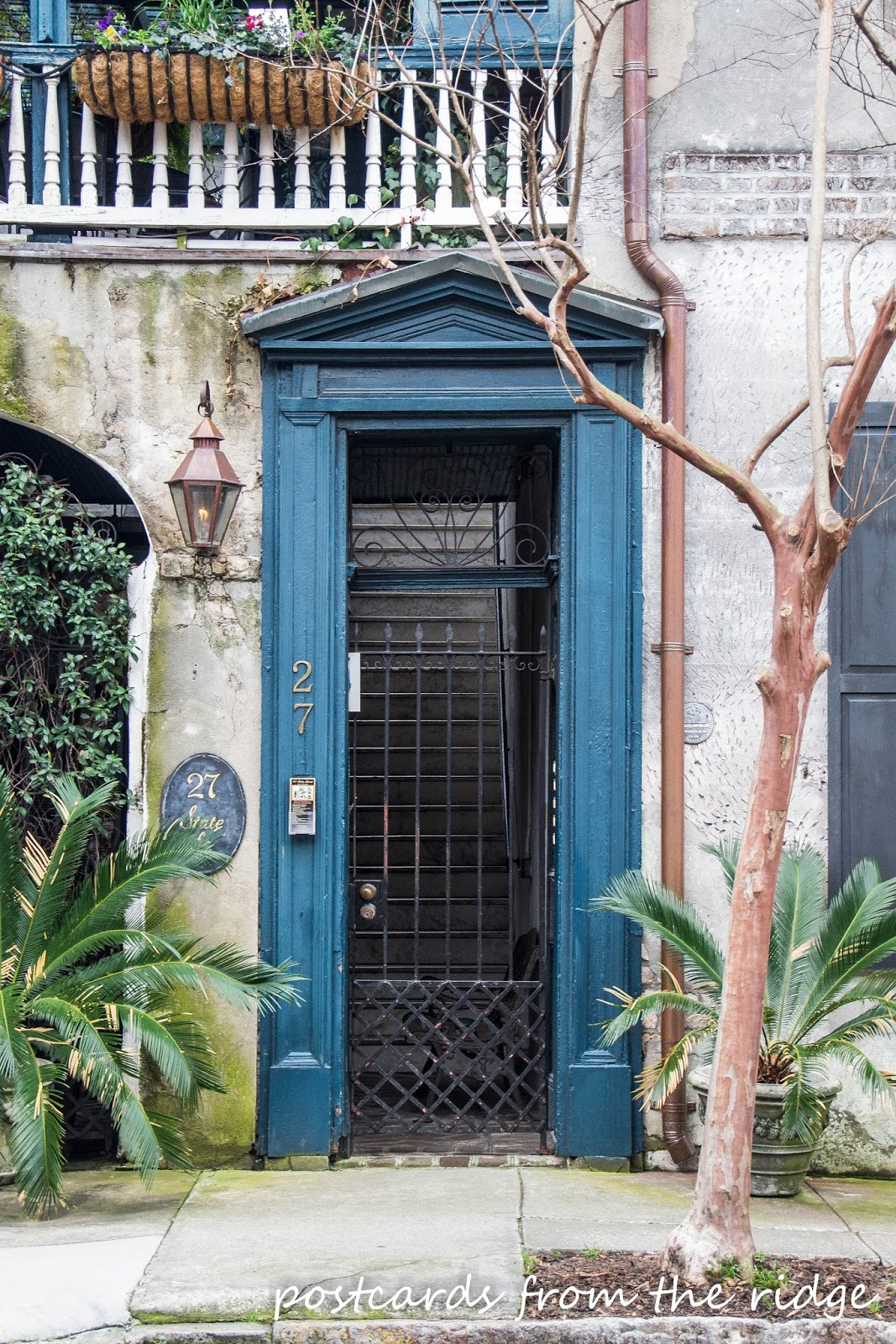 Gorgeous old turquoise door in Charleston, SC.  Postcards from the Ridge.
