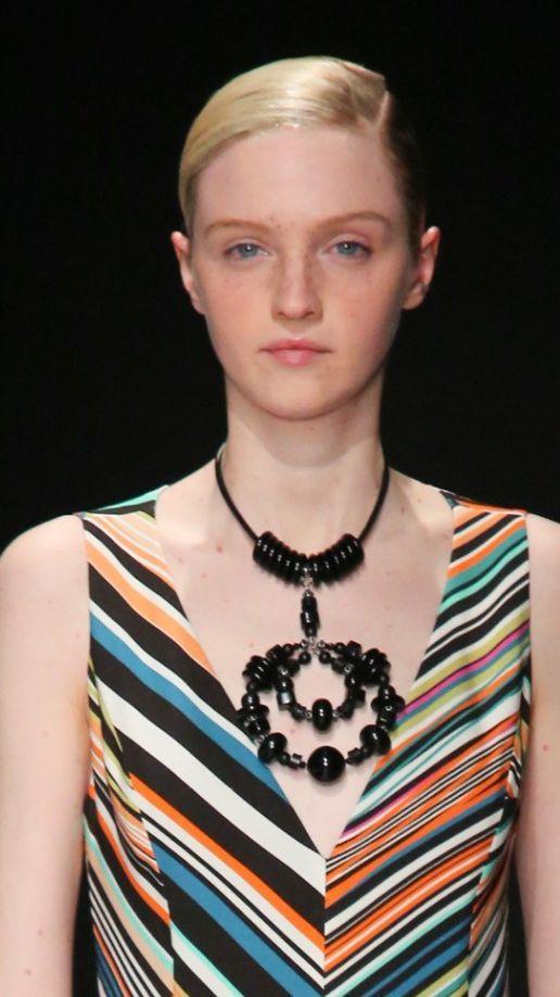 Lady in Rainbow Color Dress with Unique Black Color Necklaces
