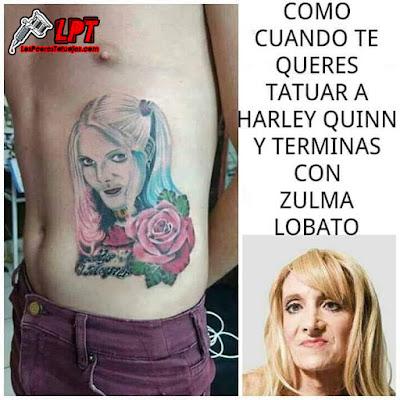 Memes de tattoos : Tatuaje de Harley Quinn travesti