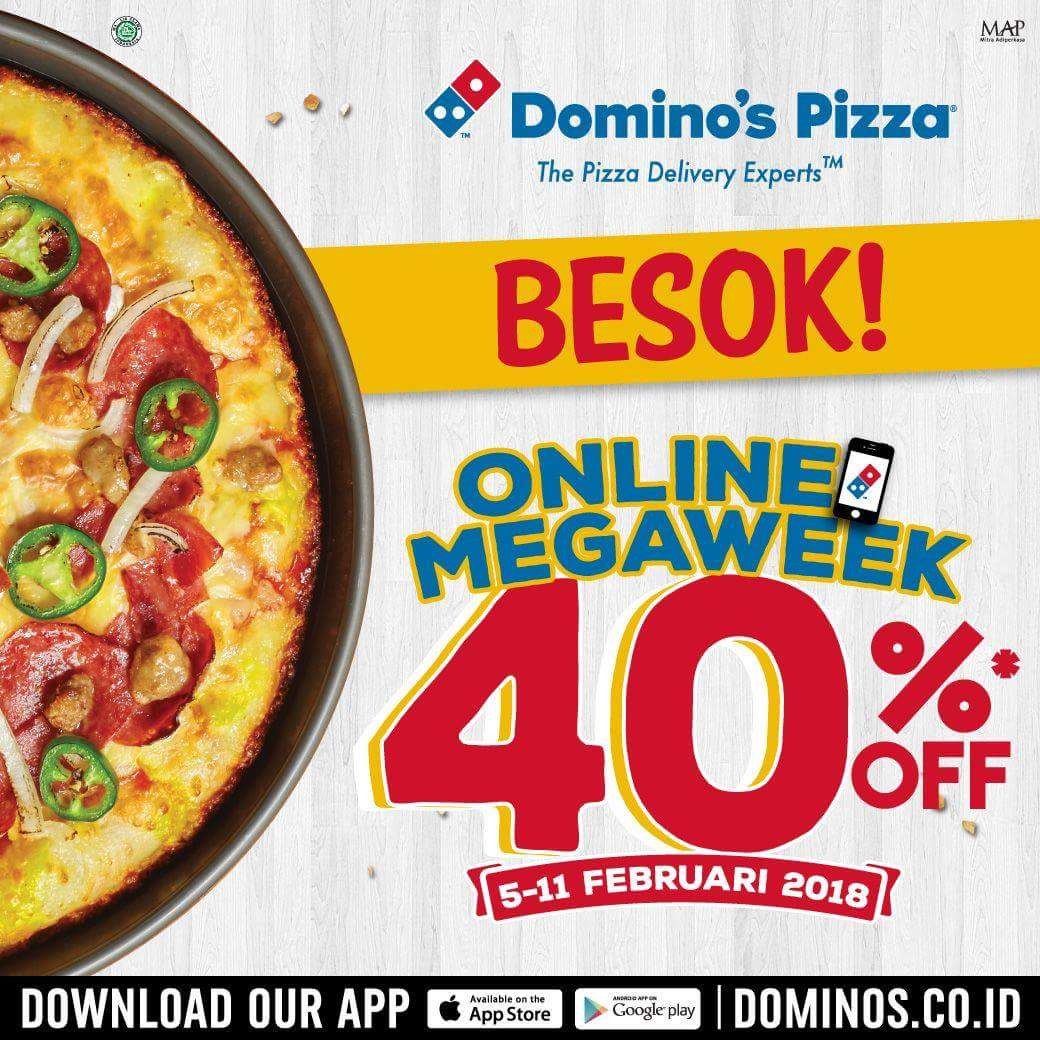 Promo Dominos Pizza Terbaru Online Megaweek Diskon 40 Periode 05 11 Februari 2018 News And Talking