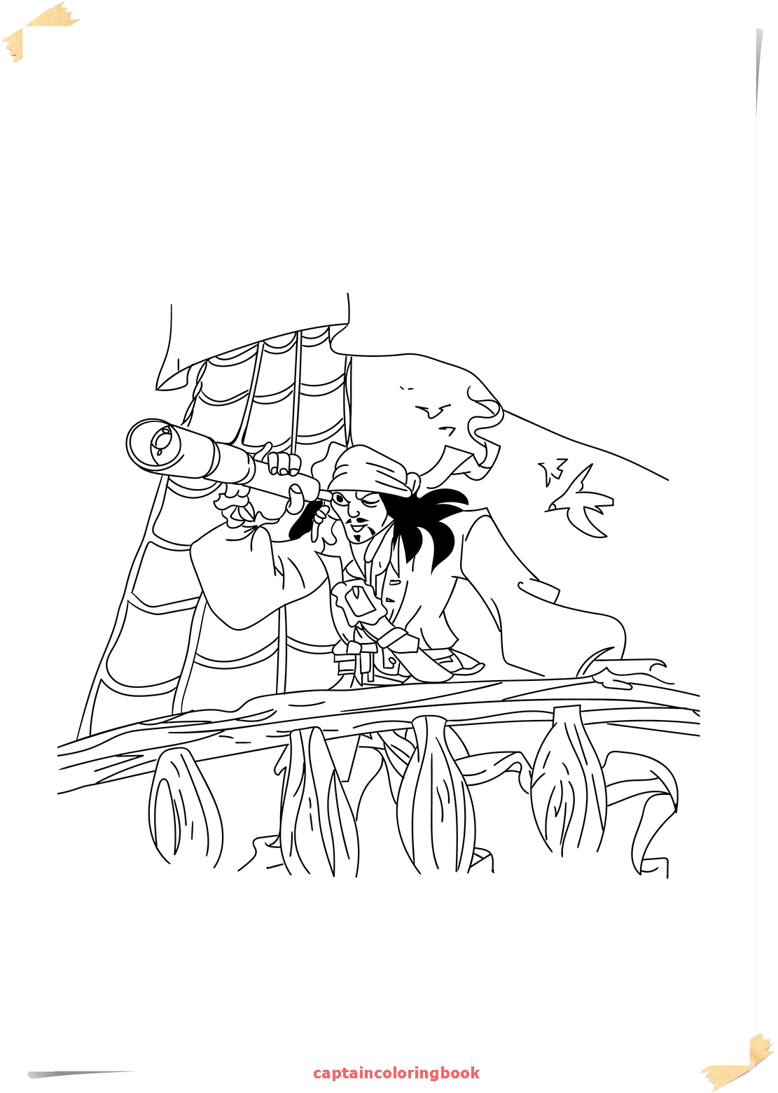 Captain Jack Sparrow Coloring Pages download - Coloring Page