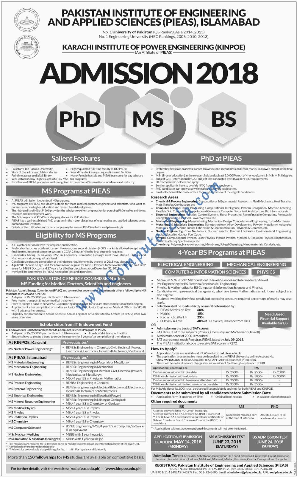 Karachi Institute of Power Engineering Admissions Fall 2018