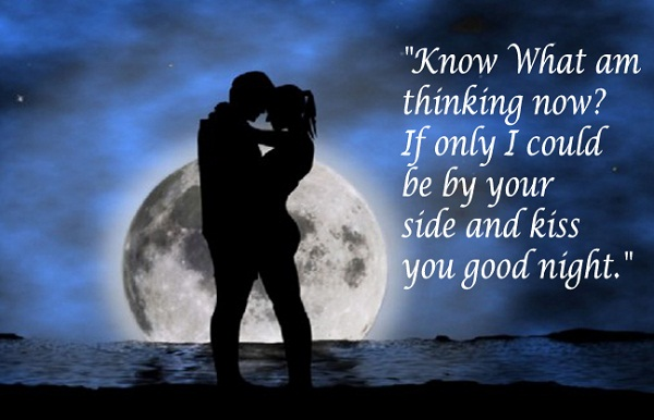Romantic Good Night Couple Kiss Image Full Moon