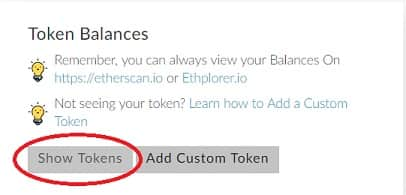 show tokens my ether wallet walton