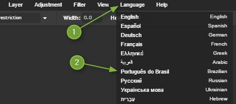 idioma português photoshop online