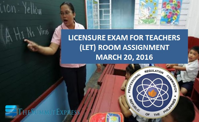 Room Assignment for March 20, 2016 LET Exam