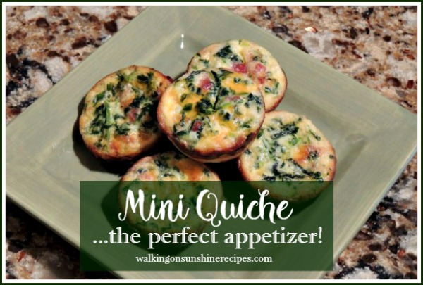 Mini Quiche Recipe for New Year's Eve Parties from Walking on Sunshine.
