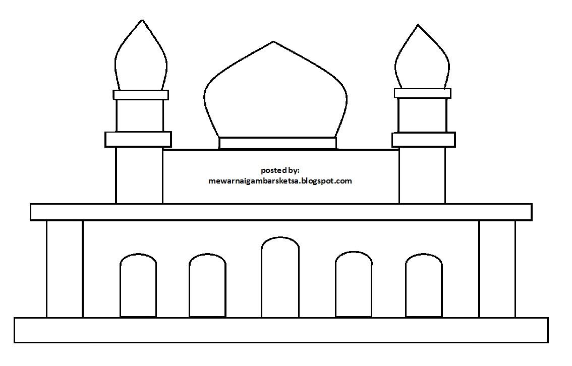 Sketsa Mewarnai Sketsa Menggambar Masjid Nusagates