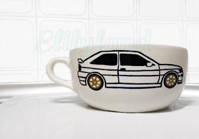 Pintar Taza Decorada DIY Hecha a Mano Elilyland Ford Escort RS