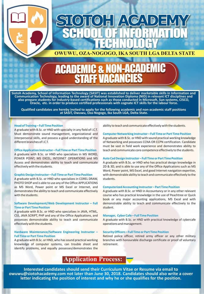 MASSIVE RECRUITMENT IN SCHOOL OF INFORMATION TECHNOLOGY - Apply ...