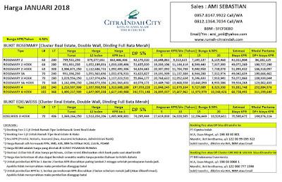 Harga ROSEMARY Citra Indah City Januari 2018