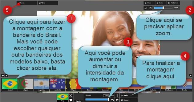 Aplicando montagem bandeira do Brasil