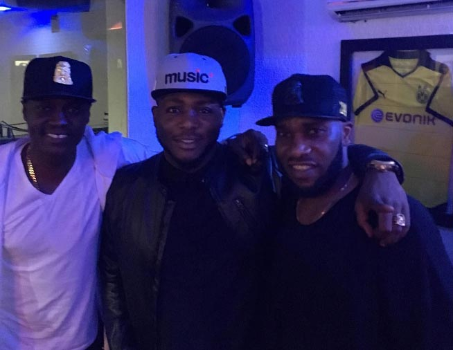 Rapper Zoro Swagbag pictured with Jay Jay Okocha and Sound Sultan
