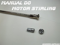 Manual do motor Stirling, raio de bicicleta para o pistão deslocador