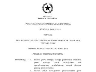 Download Peraturan Pemerintah (PP) Nomor 19 Tahun 2017 Tentang Guru