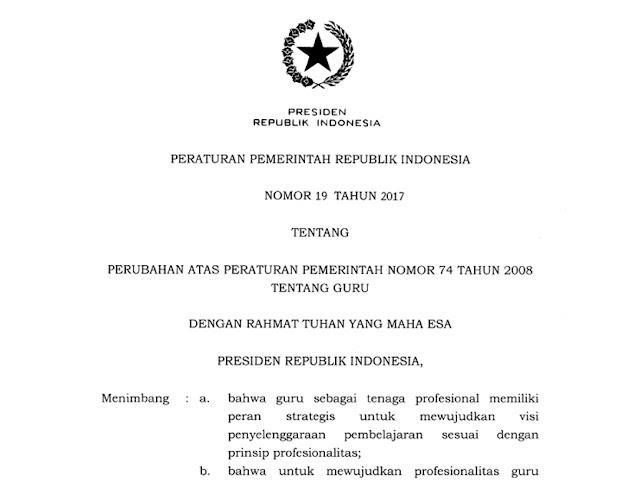 Download Peraturan Pemerintah Nomor 19 Tahun 2017 Tentang Guru
