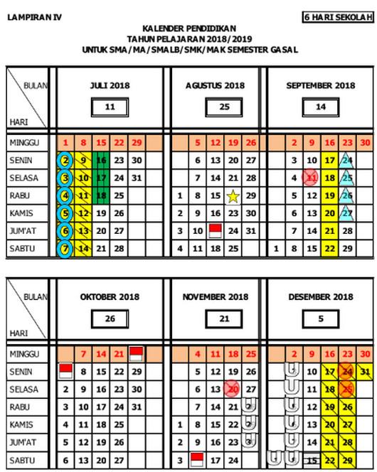 Kalender Pendidikan 2018/ 2019 Jawa Tengah Ganjil SMA/MA/SMALB/SMK/MAK SEMESTER