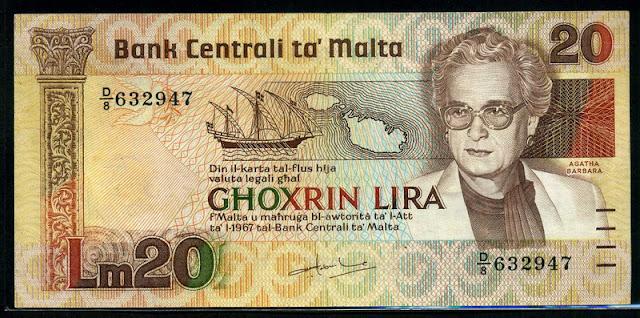 Malta currency 20 Maltese lira banknote Maltese sailing ship