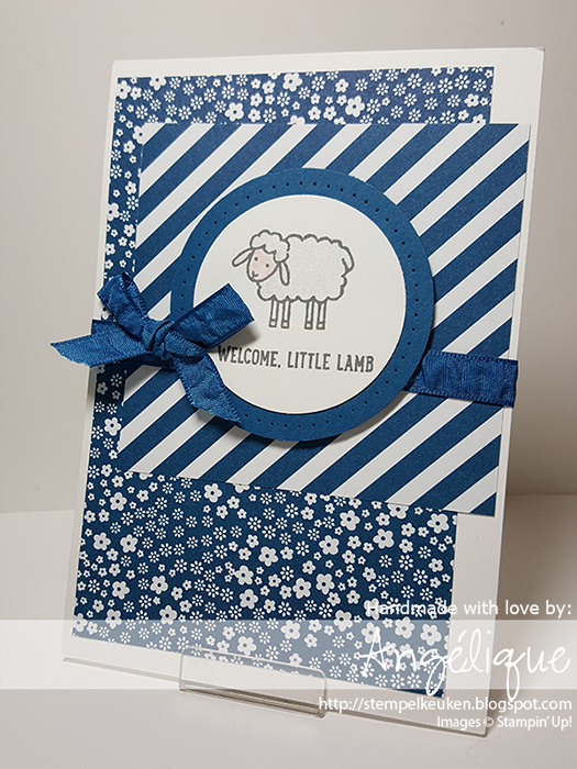 http://stempelkeuken.blogspot.com OnStage April 2016 Display Stamper de Stempelkeuken Barnyard Babies, Dapper Denim, Blushing Bride, Whisper White Cardstock,  Wink Of Stella,