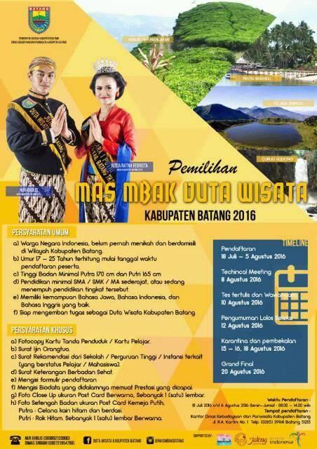 [Event] Batang | 18 Juli - 6 Agustus 2016 | Pemilihan Mas Mbak Duta Wisata Kabupaten Batang 2016