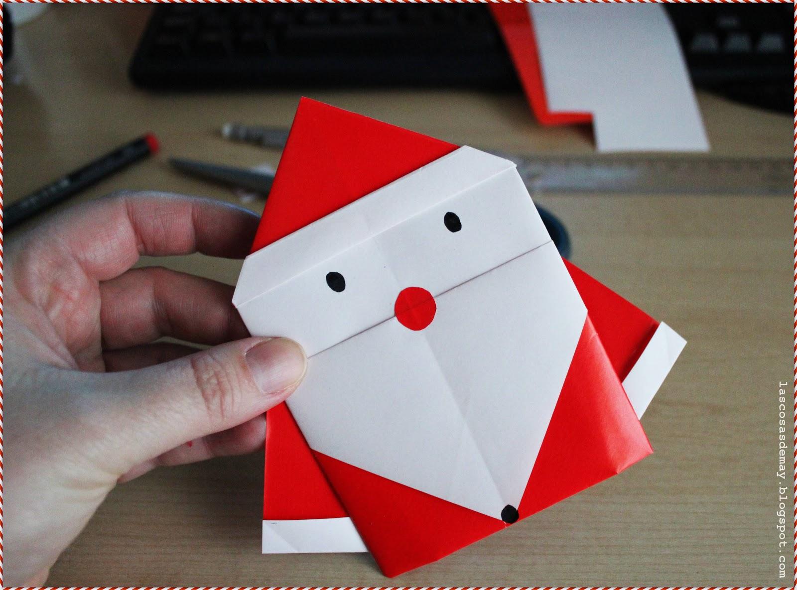 Las Cosas De May Diy Manualidades Un Papa Noel De Papel Origami - Origami-papa-noel