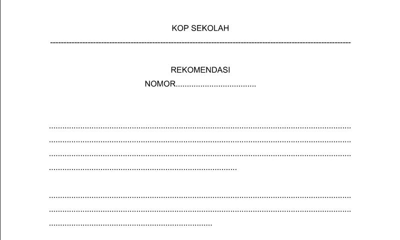 Contoh Format Bentuk Rekomendasi untuk Perlengkapan Administrasi TU (Tata Usaha) Sekolah
