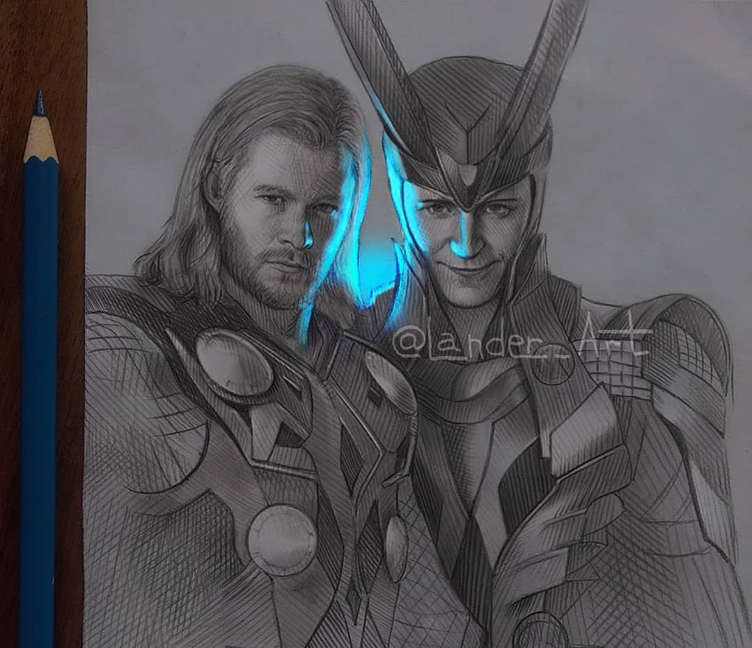 09-Loki-a-Thor-Chertkova-Lena-Game-of-Thrones-Glowing-Sketches-www-designstack-co