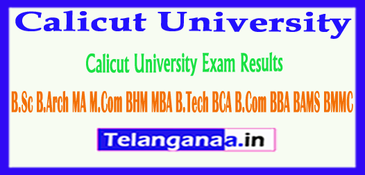 Calicut University Exam Results 2018