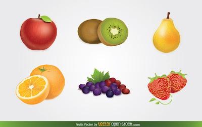 vector frutas
