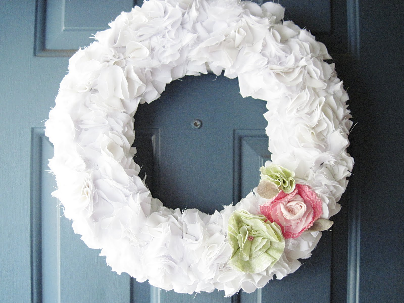 Two Shades Of Pink Ruffly White Wreath