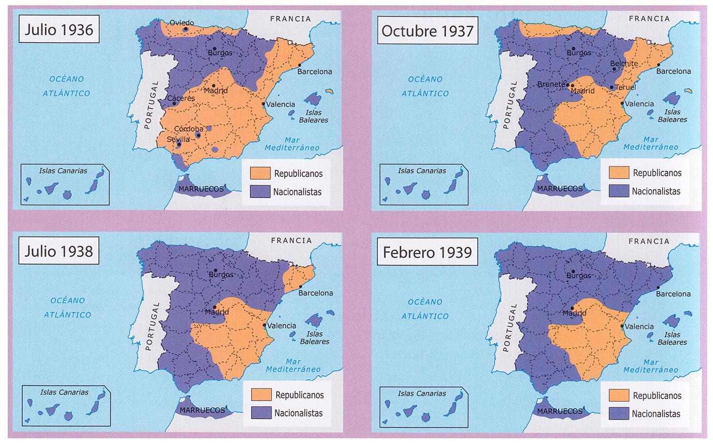 Mapa Bandos Guerra Civil Española.Historia De Espana 2º Bachillerato Fases De La Guerra Civil