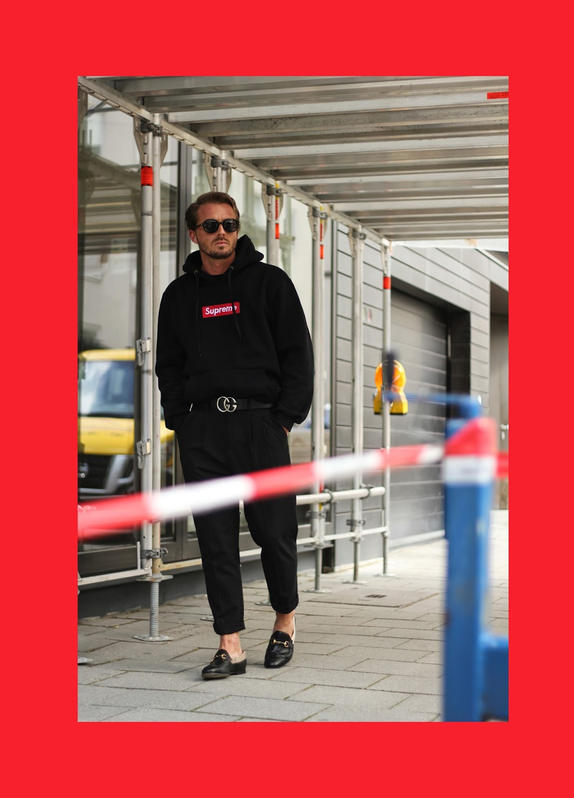 4281f08037c Hoodie - SUPREME   Sunglasses - SAINT LAURENT   Belt - GUCCI   Shoes - GUCCI    Pants - LANVIN