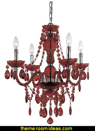 Mini Chandelier 4 Light In Red Cut Plastic