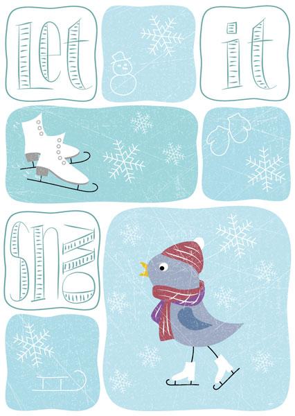 Let it snow, Vögelchen mit Schlittschuhen