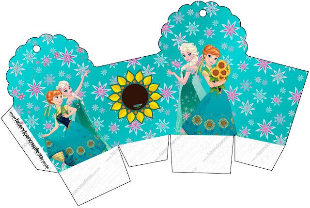Caja para cupcakes, chocoltes o golosinas de Frozen Fever.