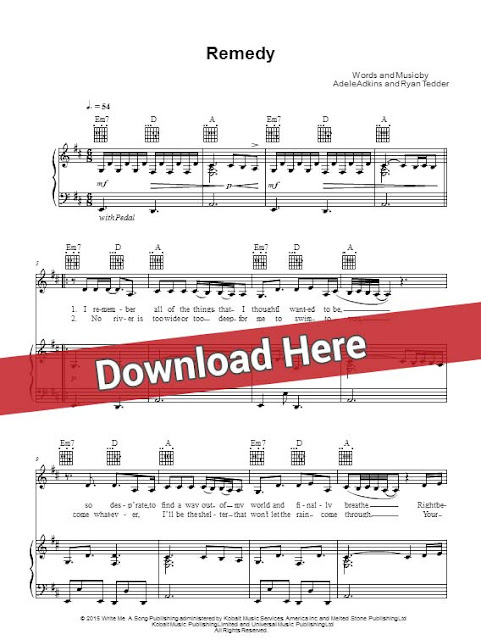 adele, remedy, sheet music, piano notes, score, chords, download, keyboard, guitar, tabs, bass, saxophone, flute, violin, how to play, klavier noten