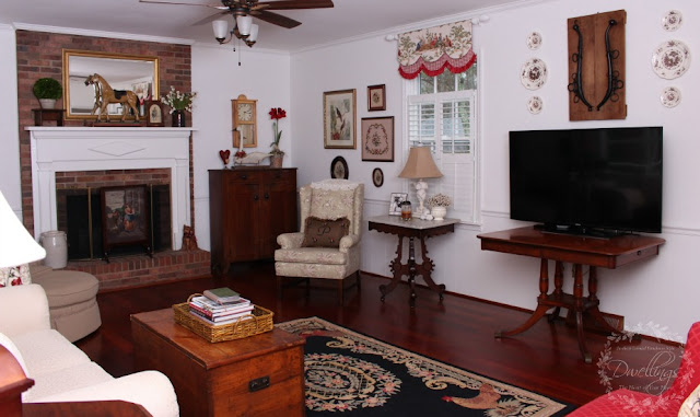 The family room with equestrian farmhouse touches.