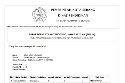 Cara Download Atau Cetak SPTJM Paud Terbaru 2019