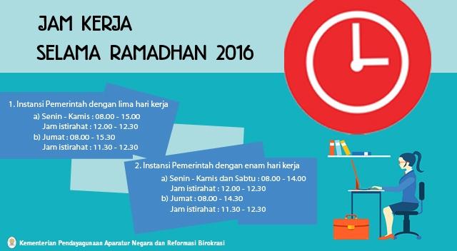 Jam Kerja ASN, TNI dan Polri Selama Ramadhan 2016