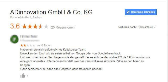 Screenshot: Bewertung ADinnovation GmbH & Co. KG / Dez 2018
