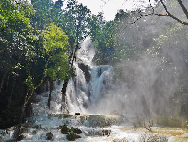 giant waterfall at kuang xi falls, laos