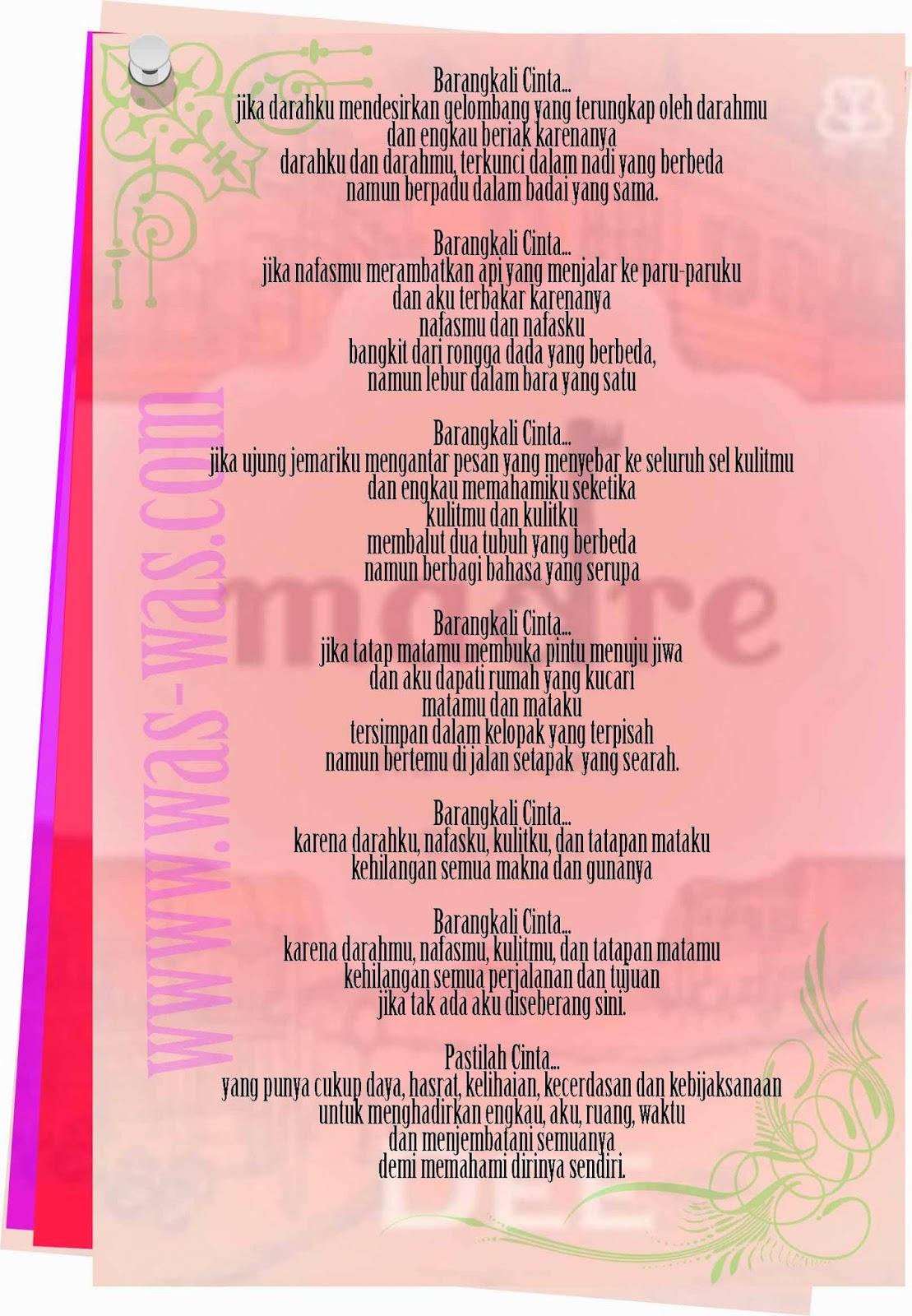 Puisi Barangkali Cinta Novel Madre - WAS-WAS.com - WAS-WAS.com