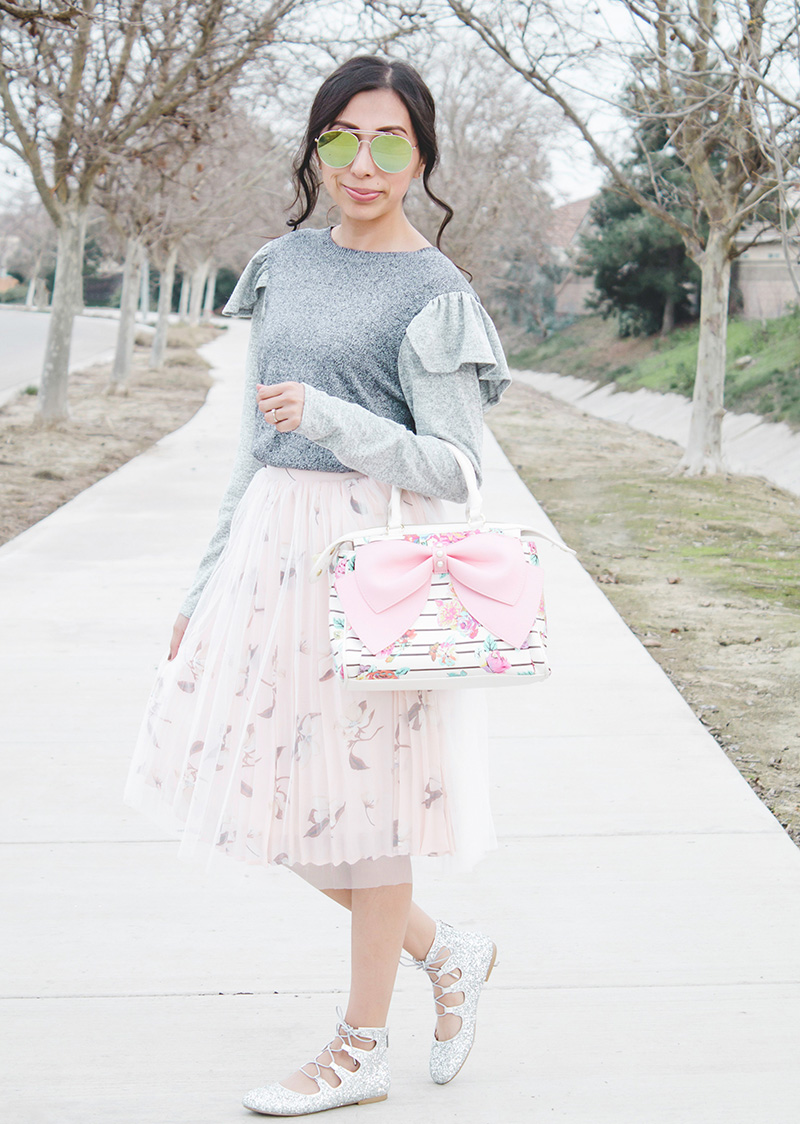 grey shoulder ruffle sweater refashion modest outfit