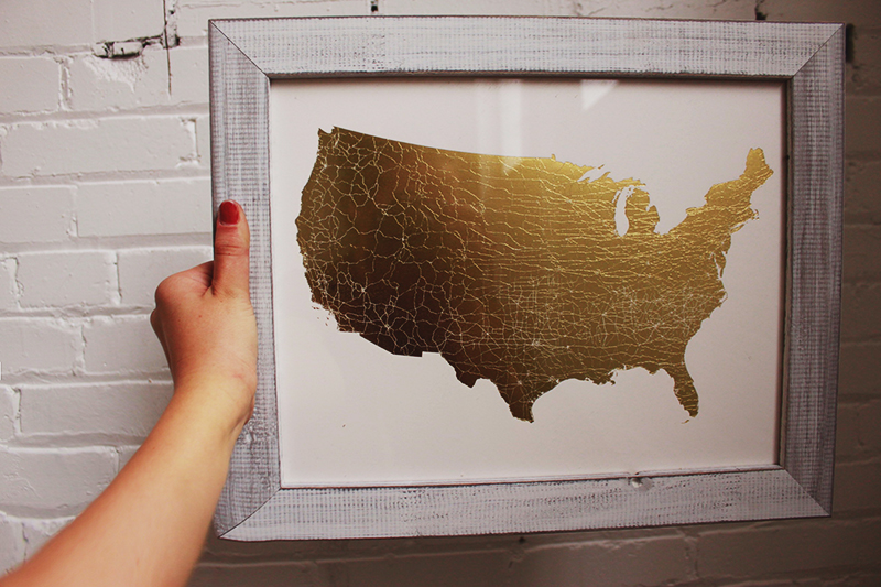 gold foil art, USA art, united states map