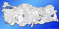 Yalova ilinin Türkiye haritasında gösterimi