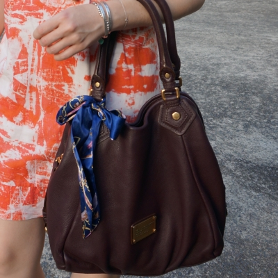 Fashion Scarf Girl Navy and Gold hair scarf tie in bow on Marc Jacobs Classic Q Fran bag | awayfromtheblue