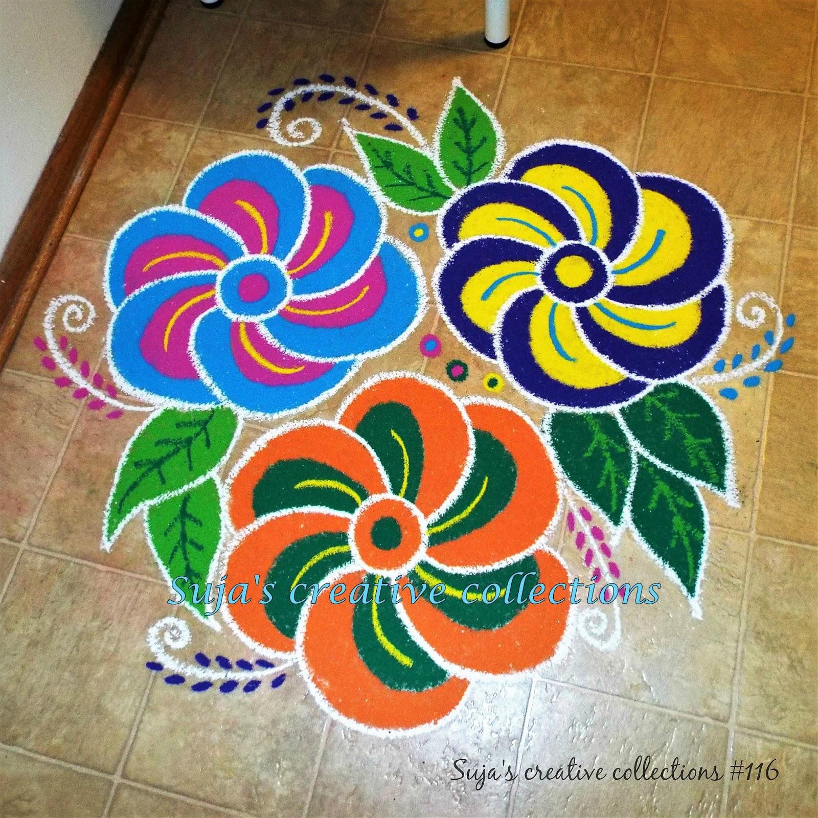 Suja S Creative Collections Floral Rangoli Designs