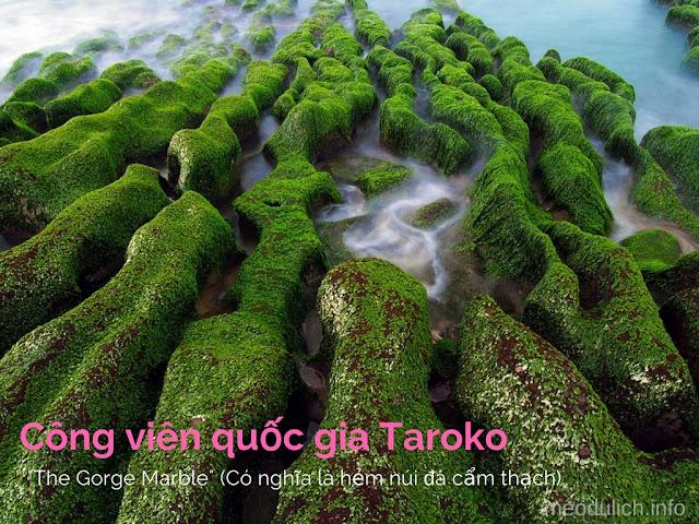 Taroko Đài Loan là công viên quốc gia với Trong 100 triệu năm qua, xây đắp nén giữa những mảng địa chất ngầm Philippine và Á-Âu cung cấp thêm áp lực biến chất đá vôi thành đá cẩm thạch.